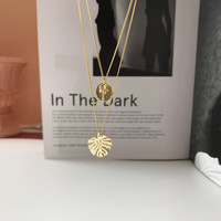 S925 Silver Curb Chain Golden Turtle Back Bamboo Pendant Necklace Fashion Trend Fine Chain Necklace Silver Jewelry
