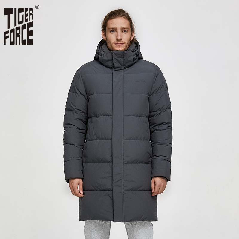 Tiger Force White Duck Down Jacket Men Winter Long Puffer Jackets Male Down Jacket With Hooded Casual Thicken Warm Overcoat