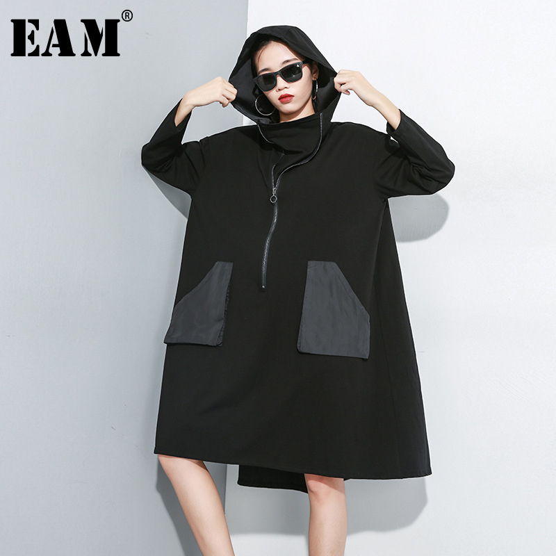 [EAM] Women Pocket Big Size Oversize Zipper Dress New Hooded Long Sleeve Loose Fit Fashion Tide Spring Autumn 2020 1A829
