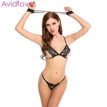 Sexy Lingerie Lace Underwear Sleepwear Nightwear Open Bra G-string Set With Handcuffs BDSM Bondage Sex Erotic Costome Porn Suit(China)