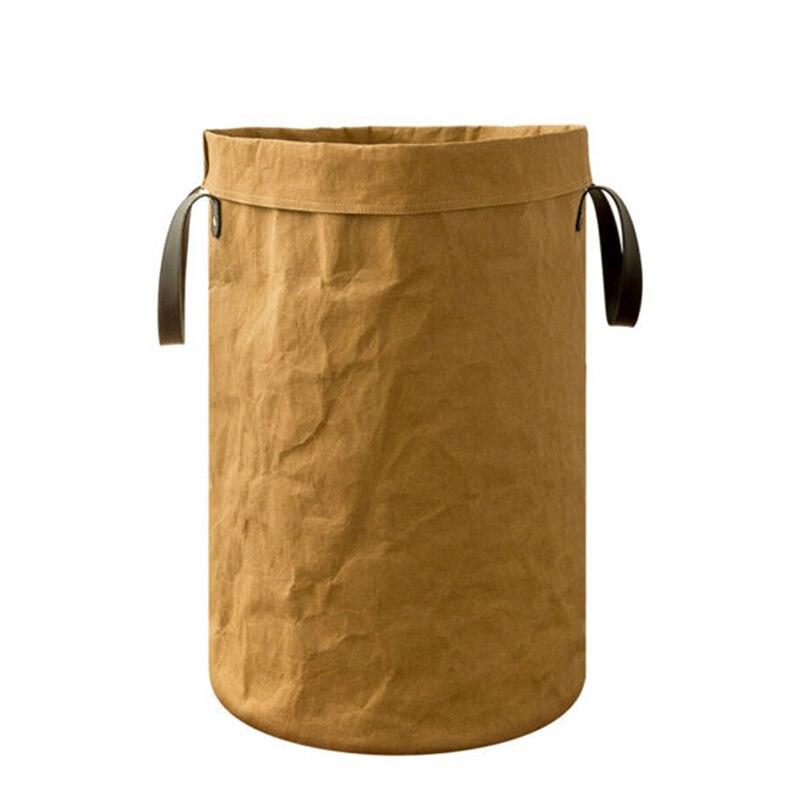 Ev ve Bahçe'ten Çamaşır Sepetleri'de Katlanabilir çamaşır sepeti uzun boylu yuvarlak sepet depolama saplı çanta için oyuncak elbise PI669 title=