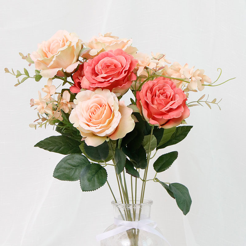 11Big Head Rose Red Silk Fake Flowers Bouquet Artificial Flowers Home Wedding Decoration Family Party Interior Decor Rain Field in Artificial Dried Flowers from Home Garden