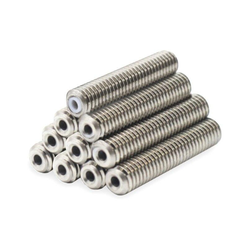 10 piezas M6x30 boquilla teflón garganta blanco PTFE tubo interior para MK8 Anet A8 A2 3D impresora extrusora HotEnd 1,75mm