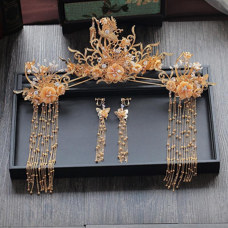 Bride tiara Chinese atmosphere queen rockhopper luxury ancient costume wedding tiara tassel ancient bride tiara women