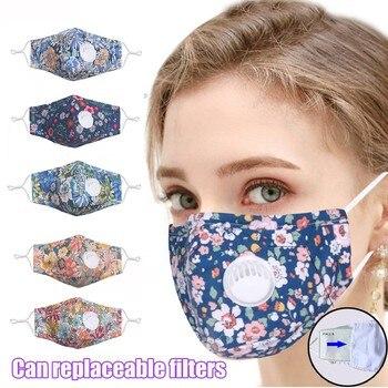 Face Mask Women Print Adjustable Reusable Breathable Valve Safe Protection Mask Face Cover Mascarilla Cycling Earloop Respirator