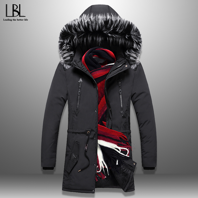 2019 New Fashion Winter Parka Long Men's Winter Jacket Thick Warm Coat Hooded Jacket Fur Collar Windproof Padded Coat Men Homme