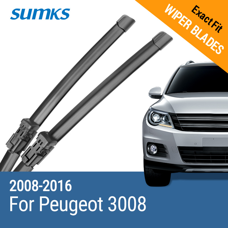 SUMKS Wiper Blades for Peugeot 3008 32& 28 Fit push button Arms 2008 2009 2010 2011 2012 2013 2014 2015 image