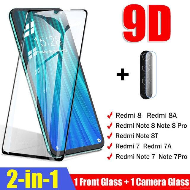 Szkło hartowane 2 w 1 dla Xiaomi Redmi Note 7 8 Pro 8T osłona ekranu dla Redmi 8 8A 7 7A szkło ochronne