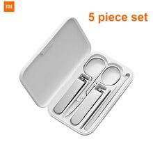 100% Xiaomi mijia 5 sztuk/zestaw Manicure obcinacz do paznokci Pedicure zestaw przenośny zestaw higieny podróży ze stali nierdzewnej Nail Cutter Tool Set