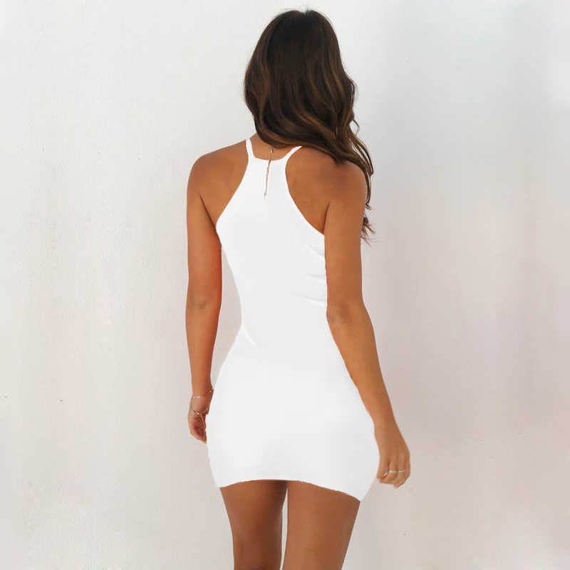 여성 Bodycon 드레스 섹시한 민소매 탱크 슬림 미니 짧은 클럽 드레스 스트레치 파티 Sundress Office 레이디 핑크 옐로우 여름 드레스