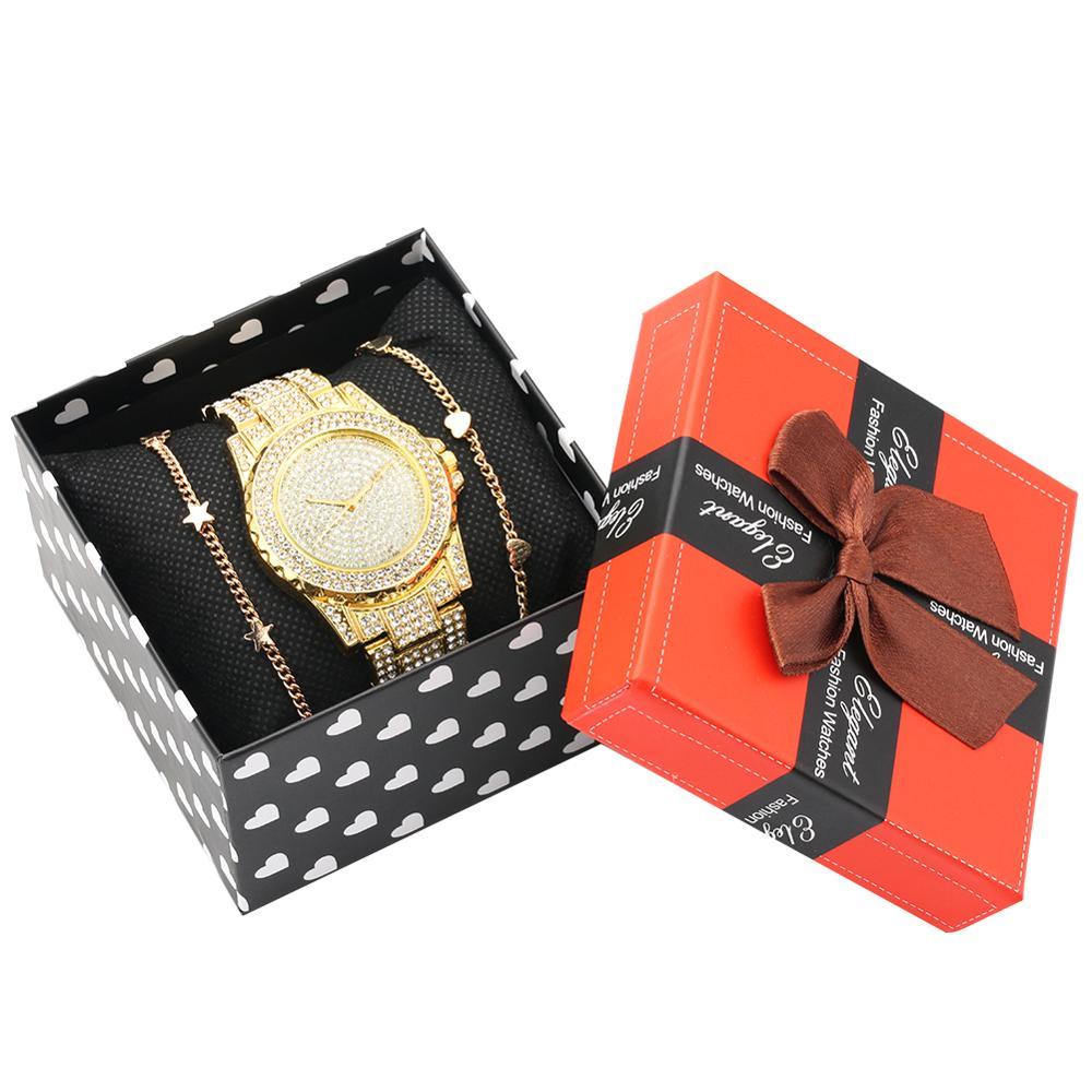 Watch Bracelet Set Women's Diamond-encrusted Quartz Watch Golden Open Rose Gold Bangle Bracelet Exquisite Box