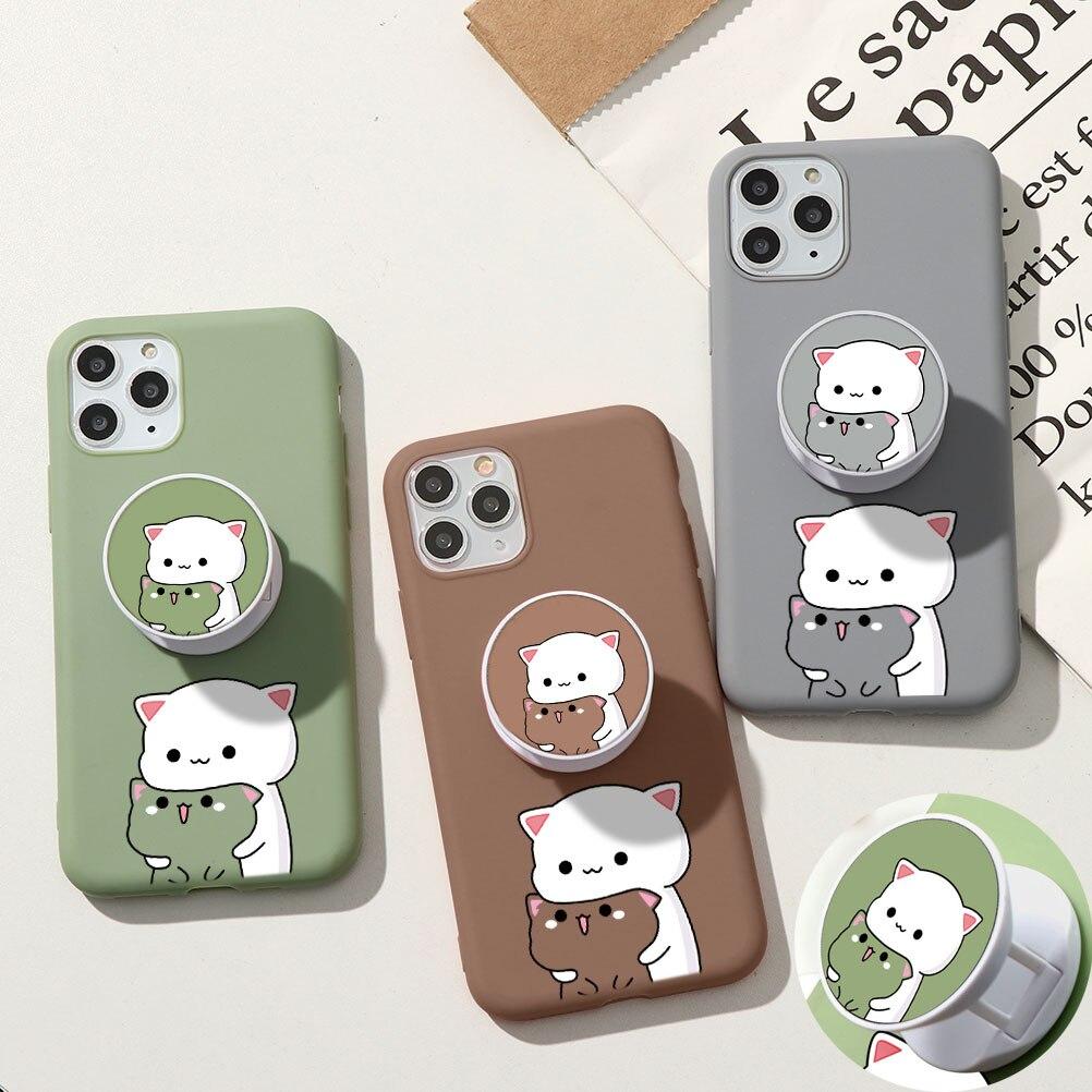 Cute Cat Phone Stand Case For Samsung A50 A51 A70 A71 A91 A11 A12 A30 A20E A21S A31 A40 S9 S10 S20 FE S21 Ultra Plus TPU Cover