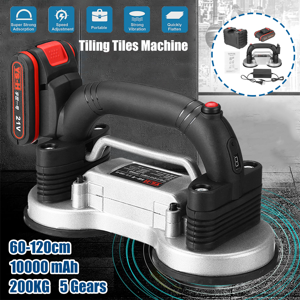 Tiling Tiles Machine 60-120mm Tile Vibrator Suction Cup Adjustable Automatic Floor Vibrator Leveling Tool With Battery 110V-220V