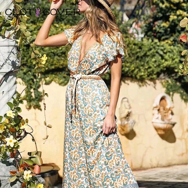Tuta da donna elegante Vintage Boho con stampa floreale elestic body manica corta scollo a v fusciacche tuta pagliaccetti in rayon bohémien