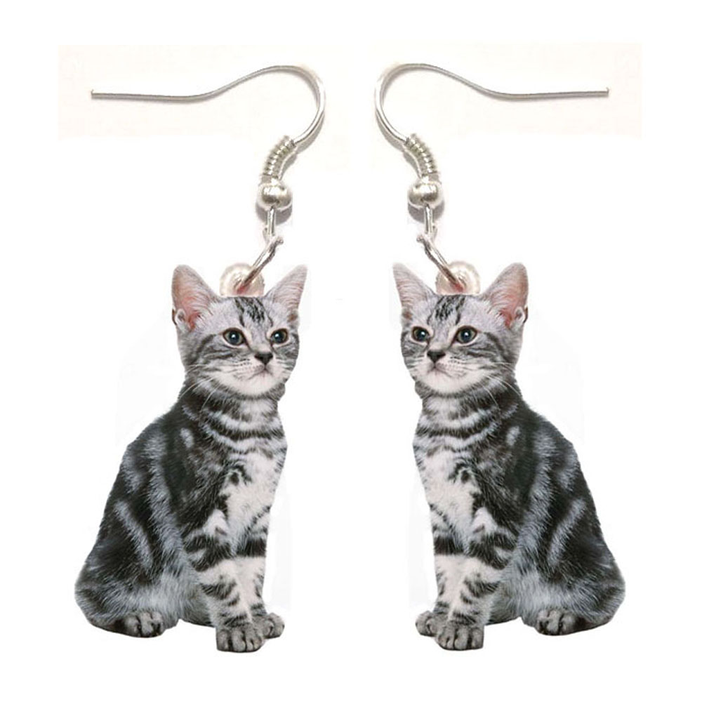 1 Pair American Shorthair Acrylic Gray Cats Earrings Womens Earrings Jewelry Gifts For Women Animal Cat Stainless Steel Earring