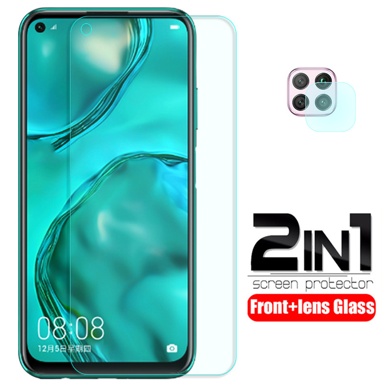 For Huawei P40 Lite Glass 2 In 1 Camera Lens Protective Glass For Huawei P 40 Lite P40 Light Screen Protector Safety Tremp Film