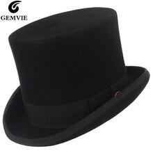 GEMVIE 15 см шерсть фетровая шляпа для мужчин женщин новая шляпа-цилиндр Топпер Mad Hatter карнавальный костюм Fedora Дерби Маг Шляпа