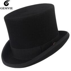 Мужская и женская фетровая шляпа GEMVIE, шляпа-цилиндр из 100% шерсти, 15 см