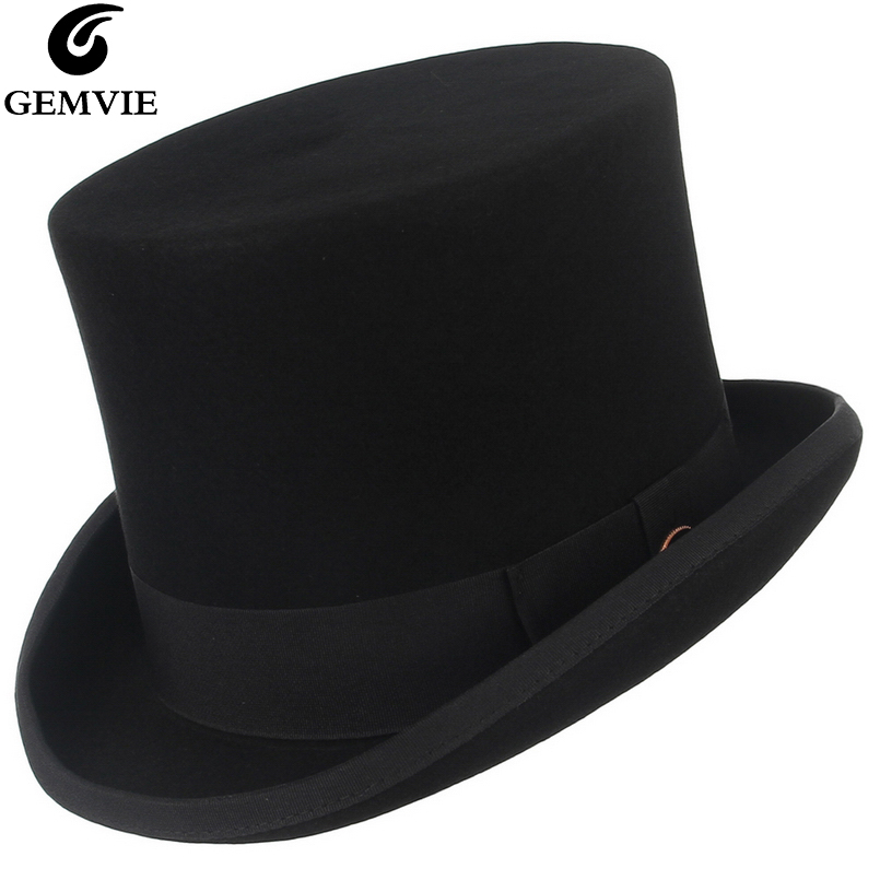 GEMVIE 15cm 100% Wool Felt Top Hat For Men Women New Cylinder Hat Topper Mad Hatter Party Costume Fedora Derby Magician Hat