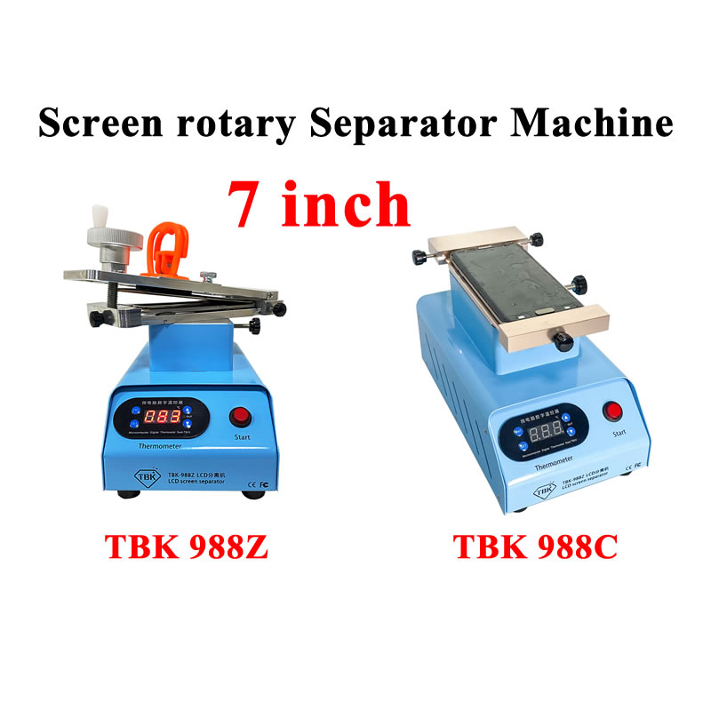 TBK 988Z 988C Flat Edge LCD Touch Screen Rotary Separator Machine Double Vacuum Pumps Max 7 inches with Clean Remove Function