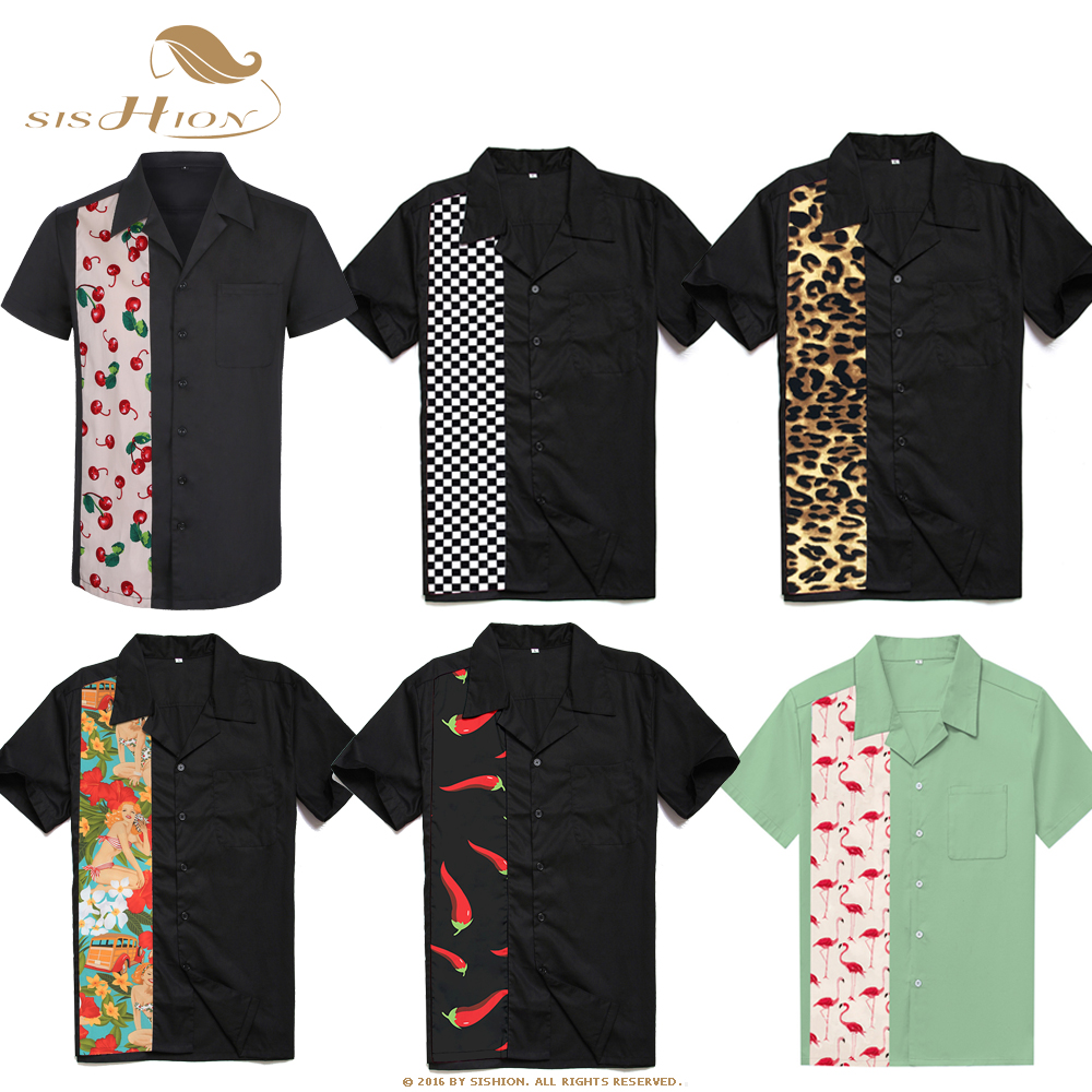 SISHION L-2XL Plus Size Men Shirt ST110 Short Sleeve Black Red Rockabilly Cotton Casual Bowling Shirts For Men Camisa Masculina