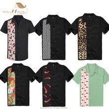 SISHION L 2XL حجم كبير الرجال قميص ST110 قصيرة الأكمام أسود أحمر روكابيلي القطن عادية البولينج قمصان للرجال camisa الذكور