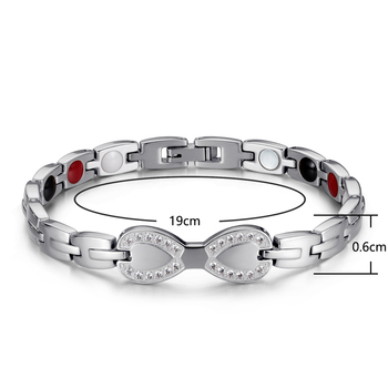 Magnetic Bracelet Therapy Jewelry Fashion Titanium Steel Ring  Health Bracelet Silver White Beads friends Girlfriend Gift OSB-23 2