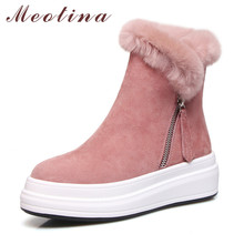 Купить с кэшбэком Meotina Warm Plush Snow Boots Women Cow Suede Zipper Flat Platform Ankle Boots Rabbit Hair Round Toe Shoes Ladies Winter Size 39