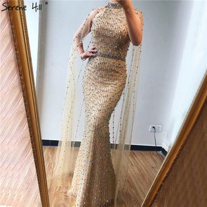 Image 5 - Vestidos de Noche de plata de Dubái de sirena de lujo, diseño sin mangas, Sexy, ilusión de rebordear, vestido Formal 2020 Serene Hill LA70087