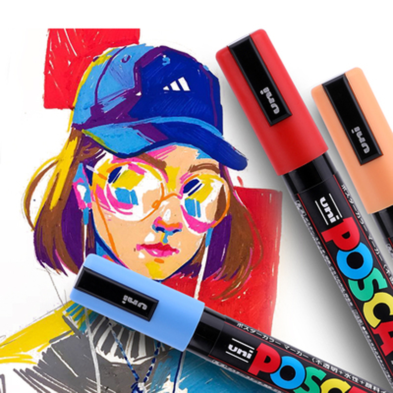 8 Pcs/Lot Uni Posca PC-5M Paint Marker- Fine Tip-1.8mm-2.5mm