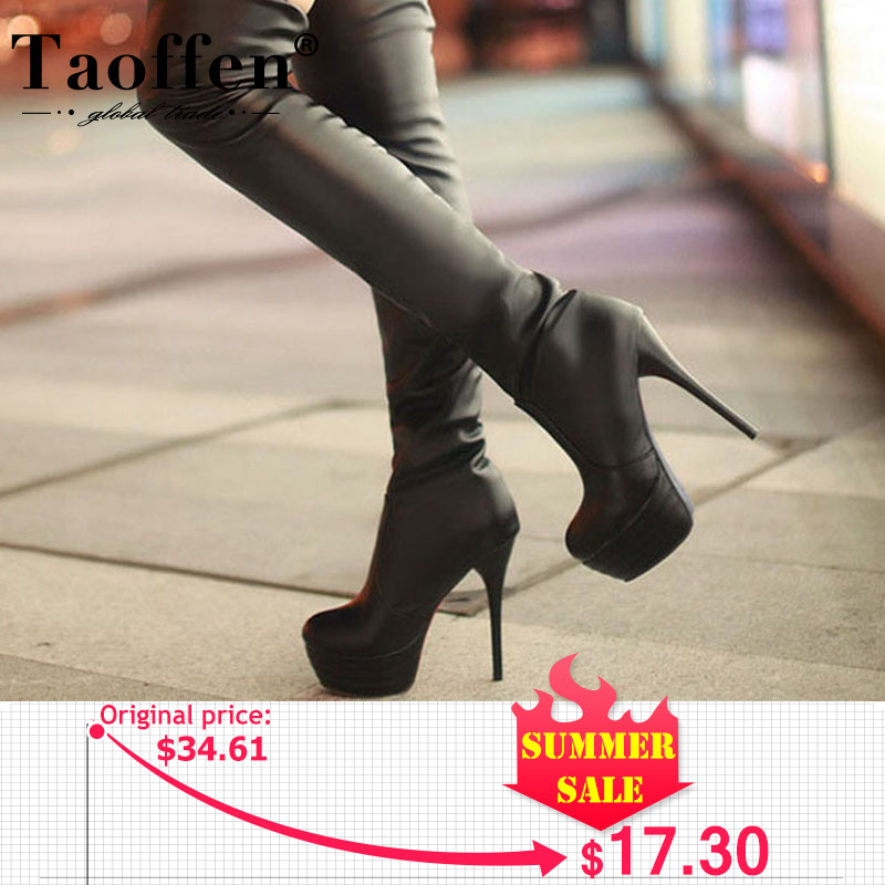 Ladies Warm Knee High Boots Lace Up Mid Block Heel Platform Solid Shoes Autumn