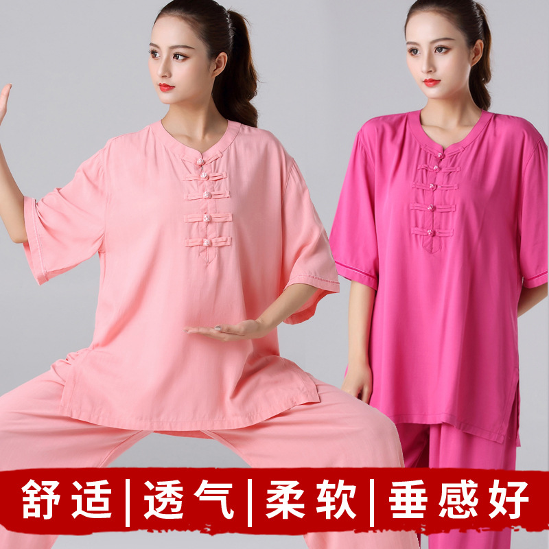 Short Sleeve Suit Women's Middle-aged Tai Chi Summer Flax Female Performance Wear Spring And Summer Half-sleeve Shirt Exercise C