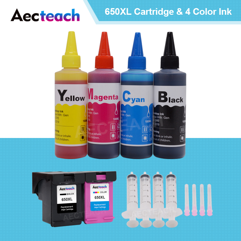 Aecteach for <font><b>HP</b></font> 650 XL for hp650 Ink cartridge for <font><b>hp</b></font> Deskjet 1015 1515 2515 2545 2645 <font><b>3515</b></font> 3545 4515 printer + 4 Bottle Dye Ink image