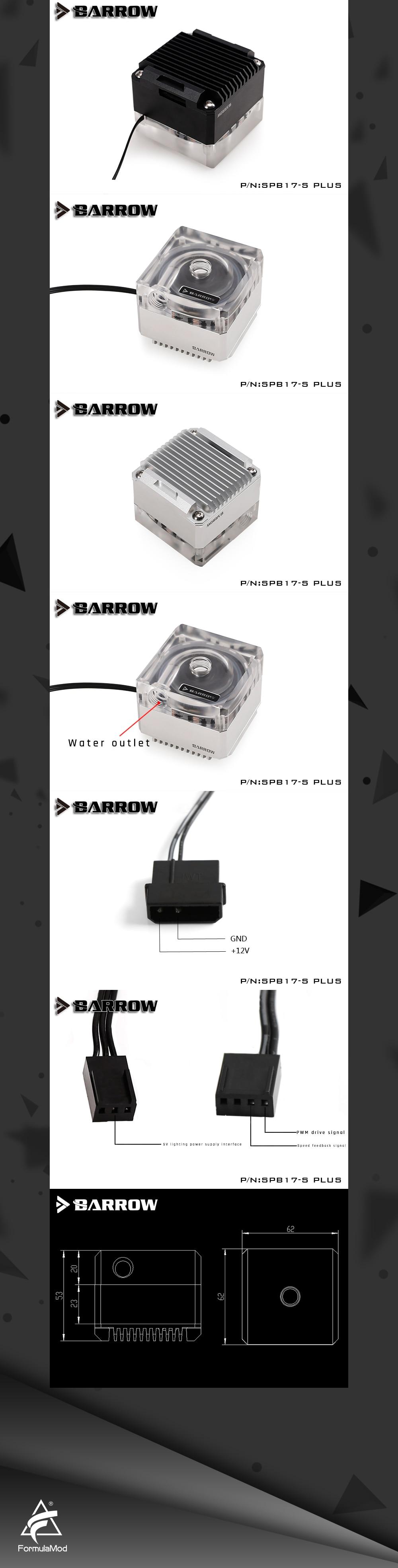 Barrow SPB17-S-PLUS, PLUS Version 17W PWM Pumps, LRC 2.0 With Aluminum Radiator Cover,