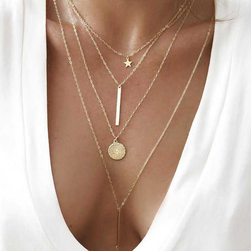 בציר רב שכבתי קריסטל תליון שרשרת נשים זהב צבע חרוזים ירח כוכב קרן סהר קולר שרשראות תכשיטי חדש
