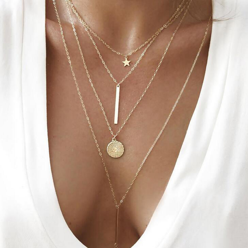 Vintage Multilayer Crystal Pendant Necklace Women Gold Color Beads Moon Star Horn Crescent Choker Necklaces Jewelry New