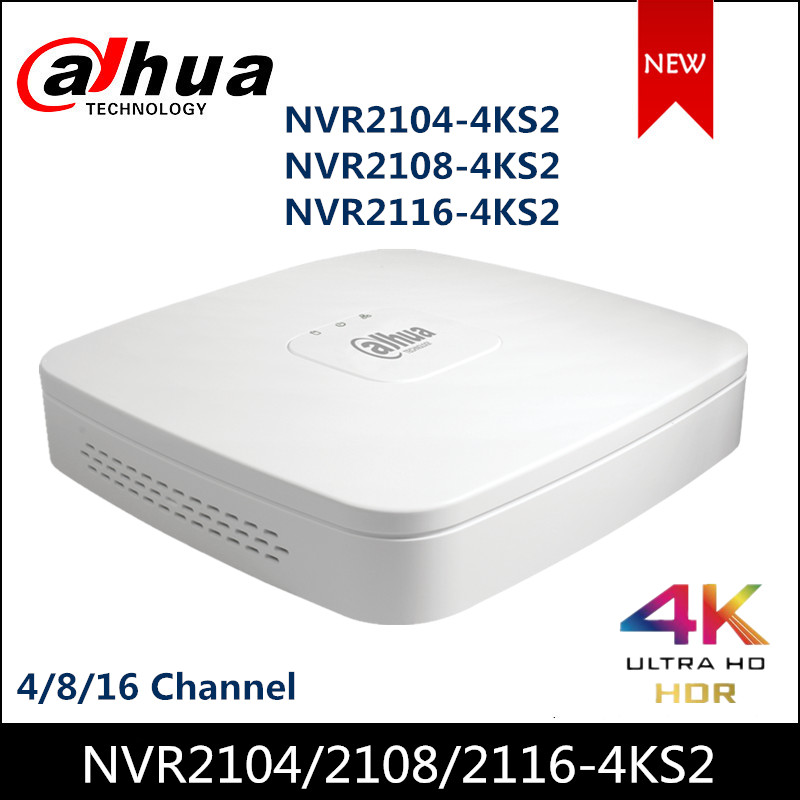 Dahua NVR NVR2104-4KS2 NVR2108-4KS2 NVR2116-4KS2 4/8/16 Channel Smart 1U Lite 4K H.265 Network Video Recorder