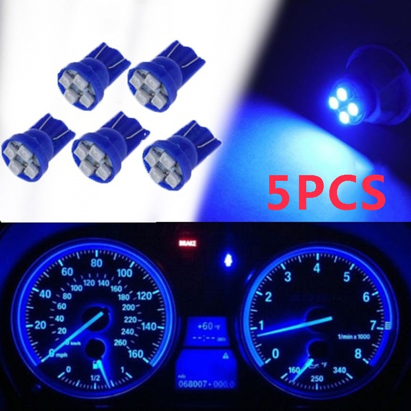 5PCS T10 W5W 194 3528 1210 4SMD LED Wedge Dashboard Gauge Cluster Instrument Panel Blue Light Bulbs