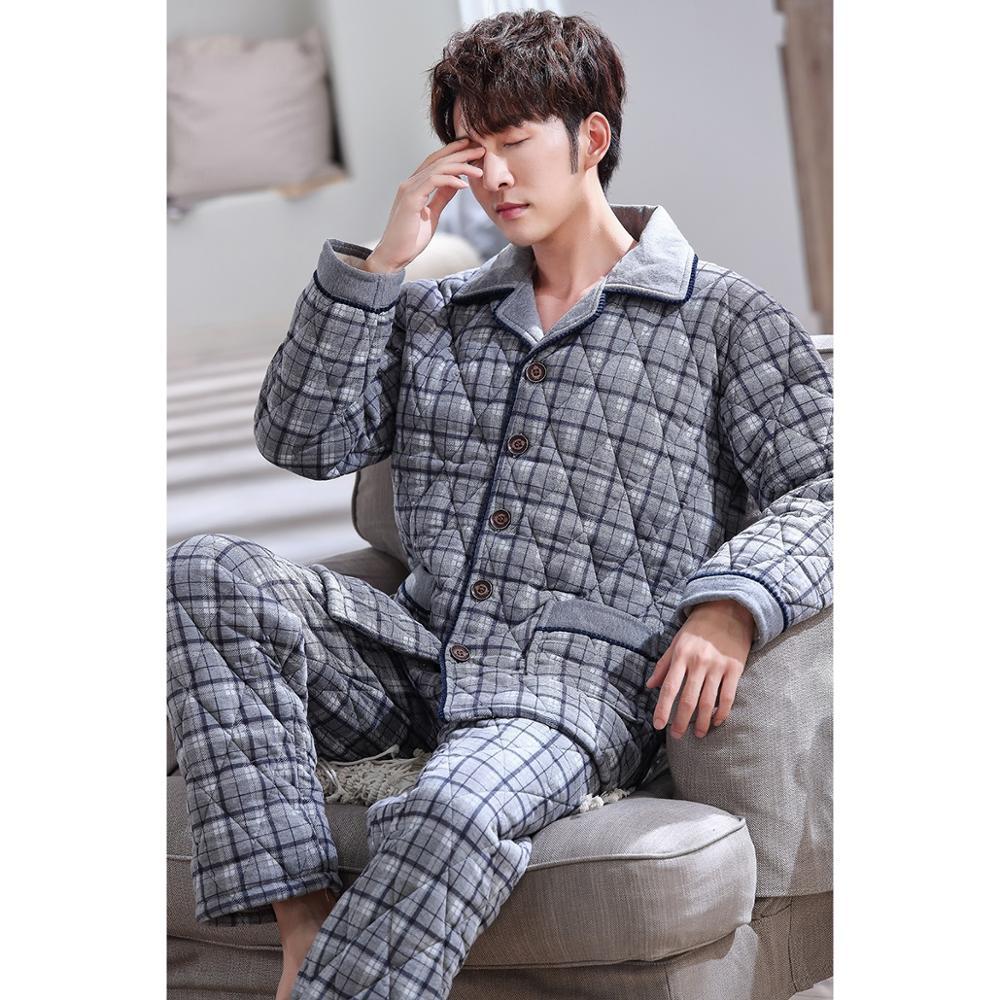 New Knit Cotton Padded Men Thick Plus Size L-3XL Winter Pajamas Set Homme Peignoir Pyjamas Warm Quilted Gray Plaid Pajamas Mens