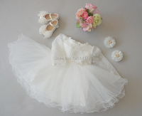 Girl's Clother Children's Graduation Revelry Luxurious Dress Beading Formal Dresses Satin Material Newborn Baptism Dress