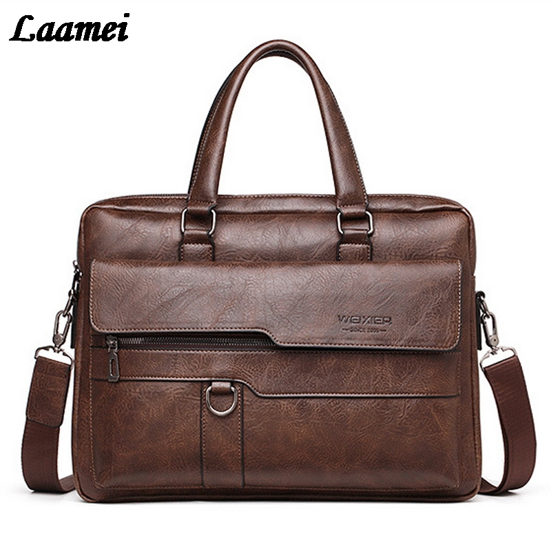 SHUJIN Men Briefcase Bag High Quality Business Leather Shoulder Messenger Bags Office Handbag Laptop Bag Bolso Hombre