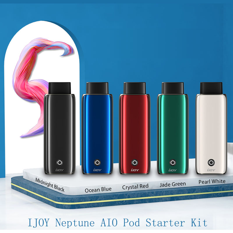 Newest IJOY Neptune Pod Starter Kit 650mAh Built-in Battery Easy Top Refill With Max 14W Output&1.8ml Pod Capacity Vape Kit