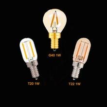 G40 t22 t20 globo do vintage led filamento lâmpada 1w 2200k e12 e14 110v 220v ouro matiz pode ser escurecido lâmpada decorativa lustre luz