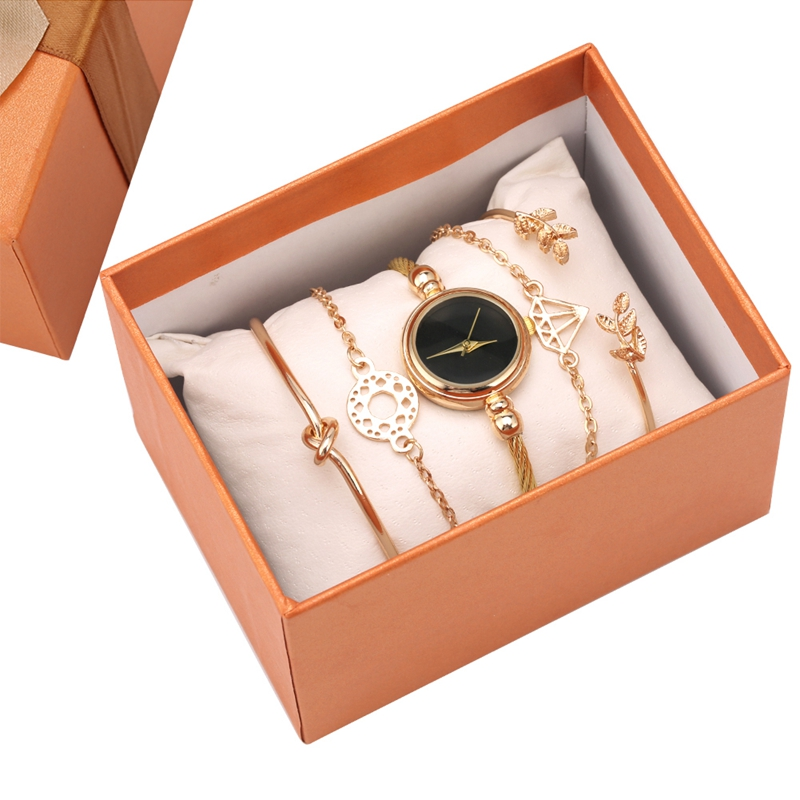 6pcs Gifts Set Women Bracelet Watch Top Luxury Golden Wrap Bangle Chain Link Bracelet Jewelry Clock Set For Women Girls Friends