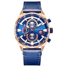 MINI FOCUS Quartz Watch Men Waterproof Blue Leather Strap Luxury Brand Fashion Design Multifunction Sport Clock Mens Wristwatch