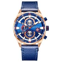 MINI FOKUS Quarzuhr Männer Wasserdicht Blau Lederband Luxus Marke Mode Design Multifunktions Sport Uhr herren Armbanduhr