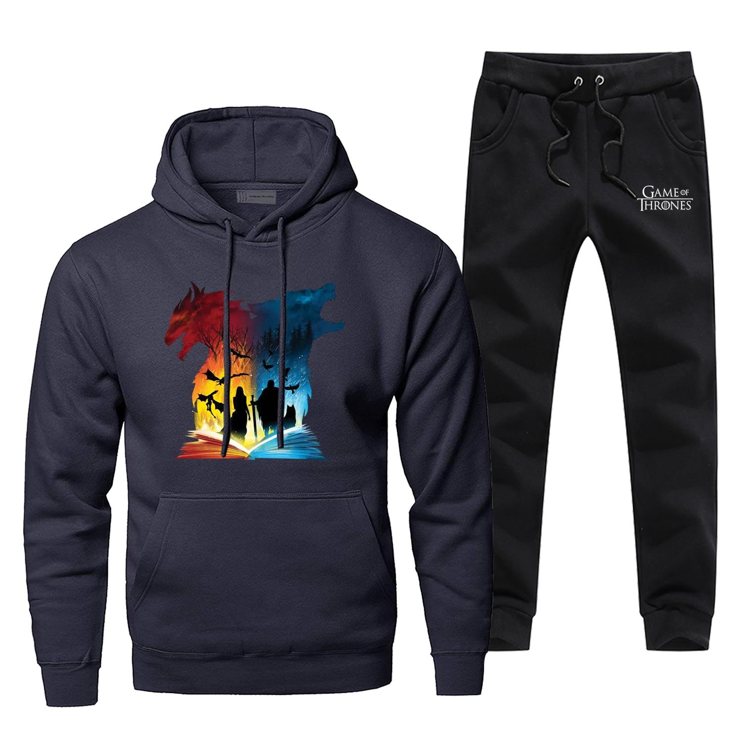 Hoodie Pants Set Game Of Thrones Men Sweatshirt Male Hoodies Sweatshirts Mens Sets Two Piece Pant Pullover Hoody Stark Wolf Coat