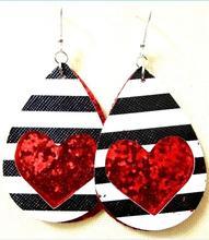 Wholesale Plaid PU Leather Teardrop Earrings for Women Trendy hollow heart cut out earrings trendy rhinestone cut out winebottle keyring