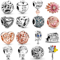 NEW 2020 100% 925 Sterling Silver Spring Mother's Day Collection Love You Charm Fit DIY Women Original Bracelet Fashion Jewelry