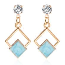 Pendientes de cristal de declaración al por mayor cuadrados geométricos colgantes pendientes de gota para mujeres 2019 Nueva joyería de moda Oorbellen Brincos